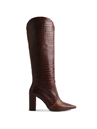 Slouchy knee-high Crocodile boots (5cm,7cm,9cm) - Choco Brown
