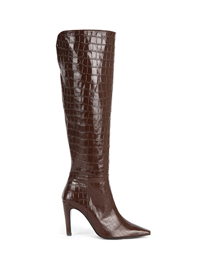 Over The Knee Crocodile Boots (7cm, 9cm) - Dark Choco