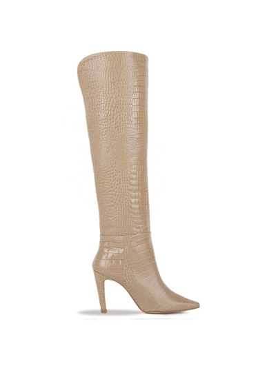 Over The Knee Crocodile Boots (7cm, 9cm) - BEIGE