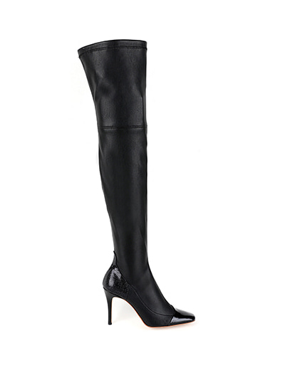 Caroline over-the-knee boots (5cm, 7cm,9cm) - Black