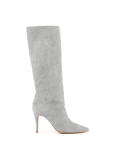 Suzan Leather Knee Boots (7cm,9cm) gray
