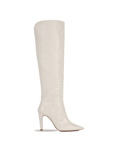 Over The Knee Crocodile Boots (7cm, 9cm) - Ivory