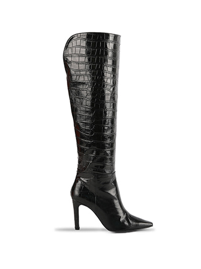 Over The Knee Crocodile Boots (7cm, 9cm) - BLACK