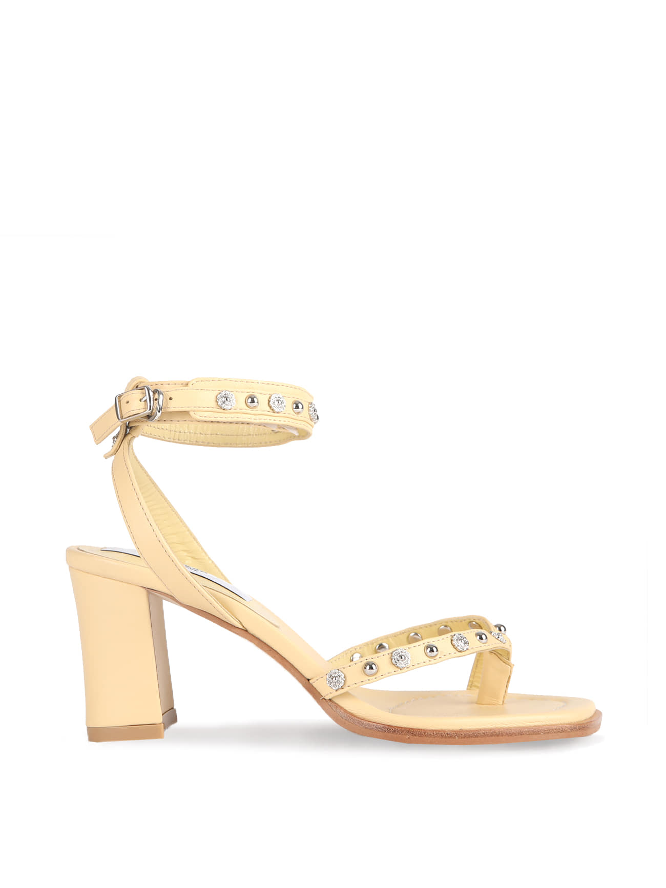 Studded Strap Sandals - Lemon Beige