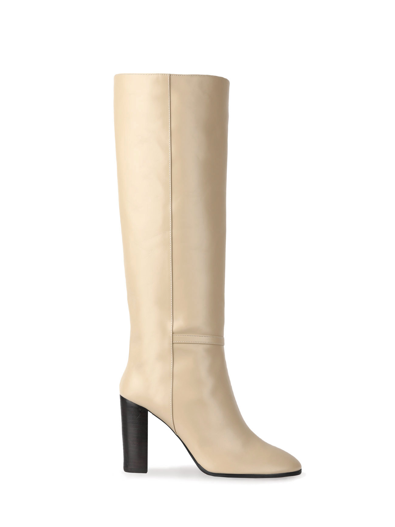 KATE LEATHER KNEE BOOTS (7cm, 9cm) - BEIGE