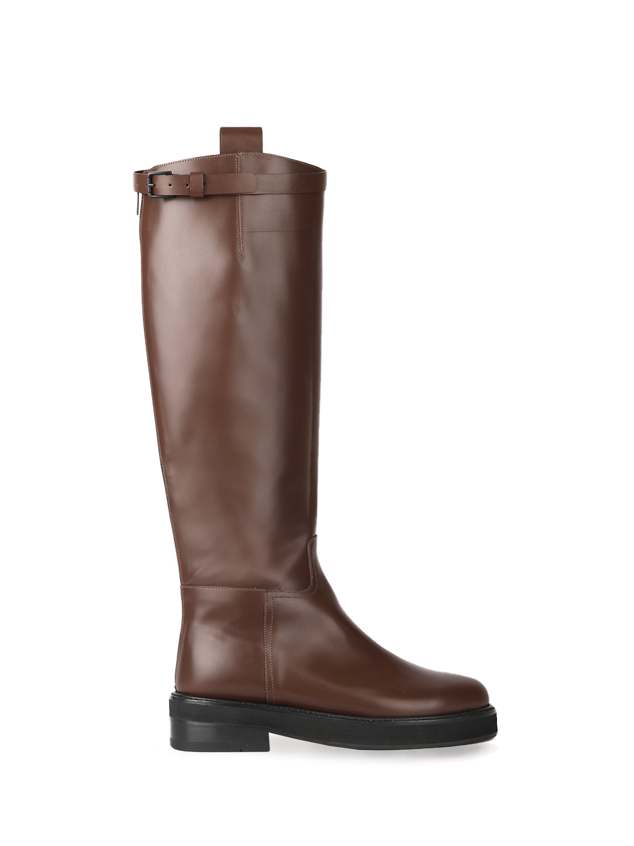 JOY BUCKLE-STRAP LEATHER BOOTS - CHOCO (4cm)