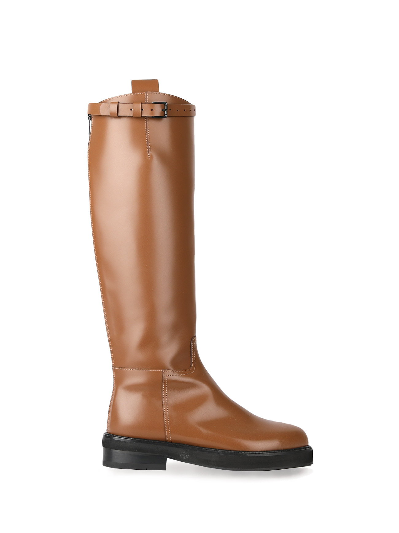 JOY BUCKLE-STRAP LEATHER BOOTS - MILK BROWN (4cm)