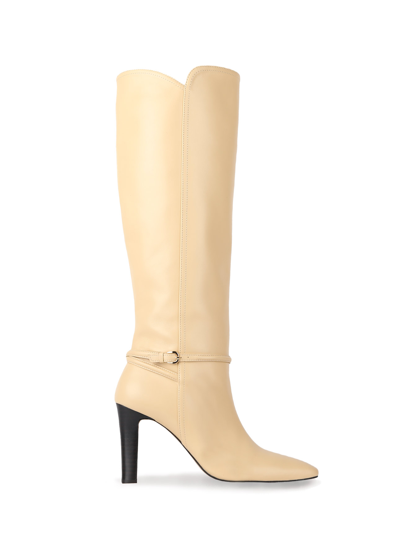 KELLY KNEE-HIGH LEATHER BOOTS (7cm, 9cm) - BUTTER