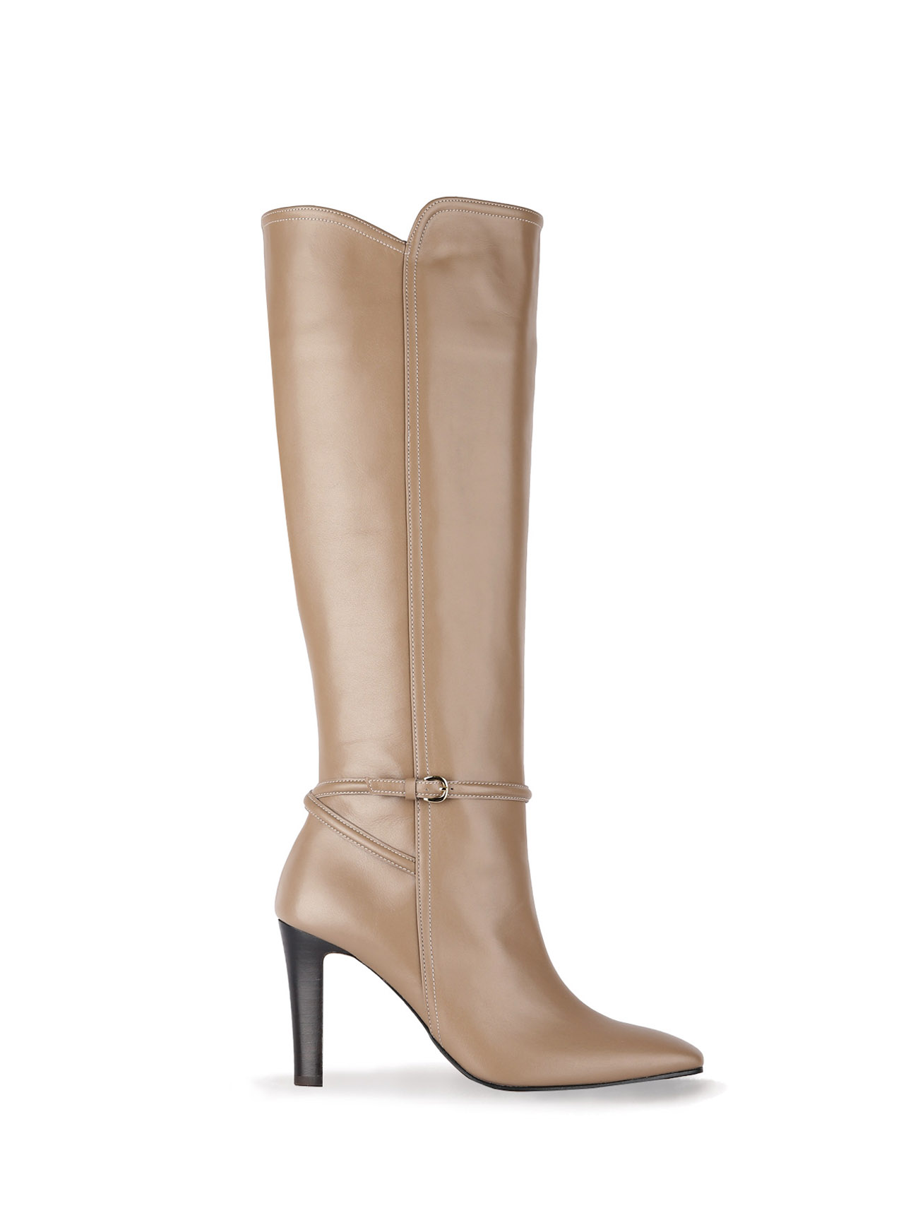 KELLY KNEE-HIGH LEATHER BOOTS (7cm, 9cm) - PEWTER BROWN