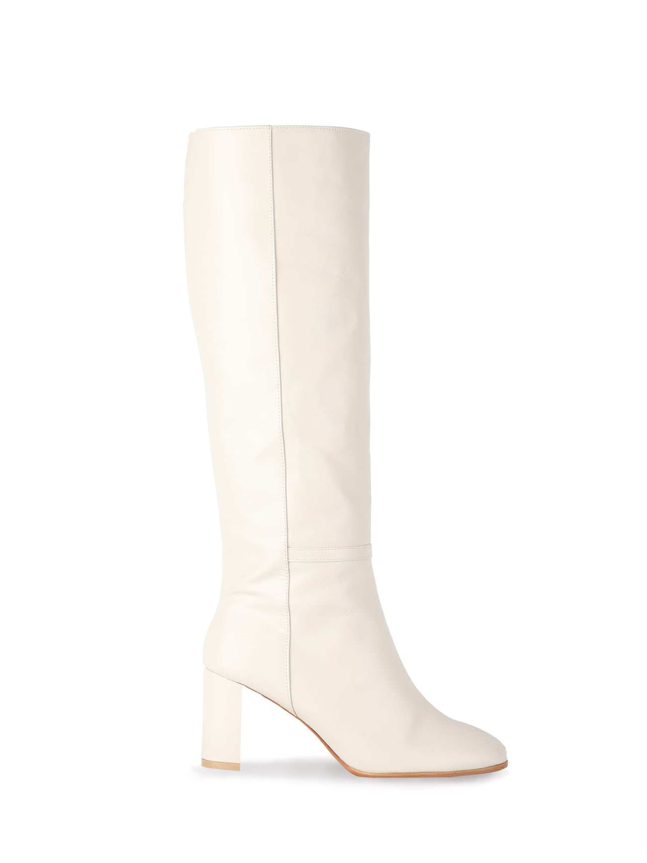 KATE LEATHER KNEE BOOTS (7cm) - IVORY