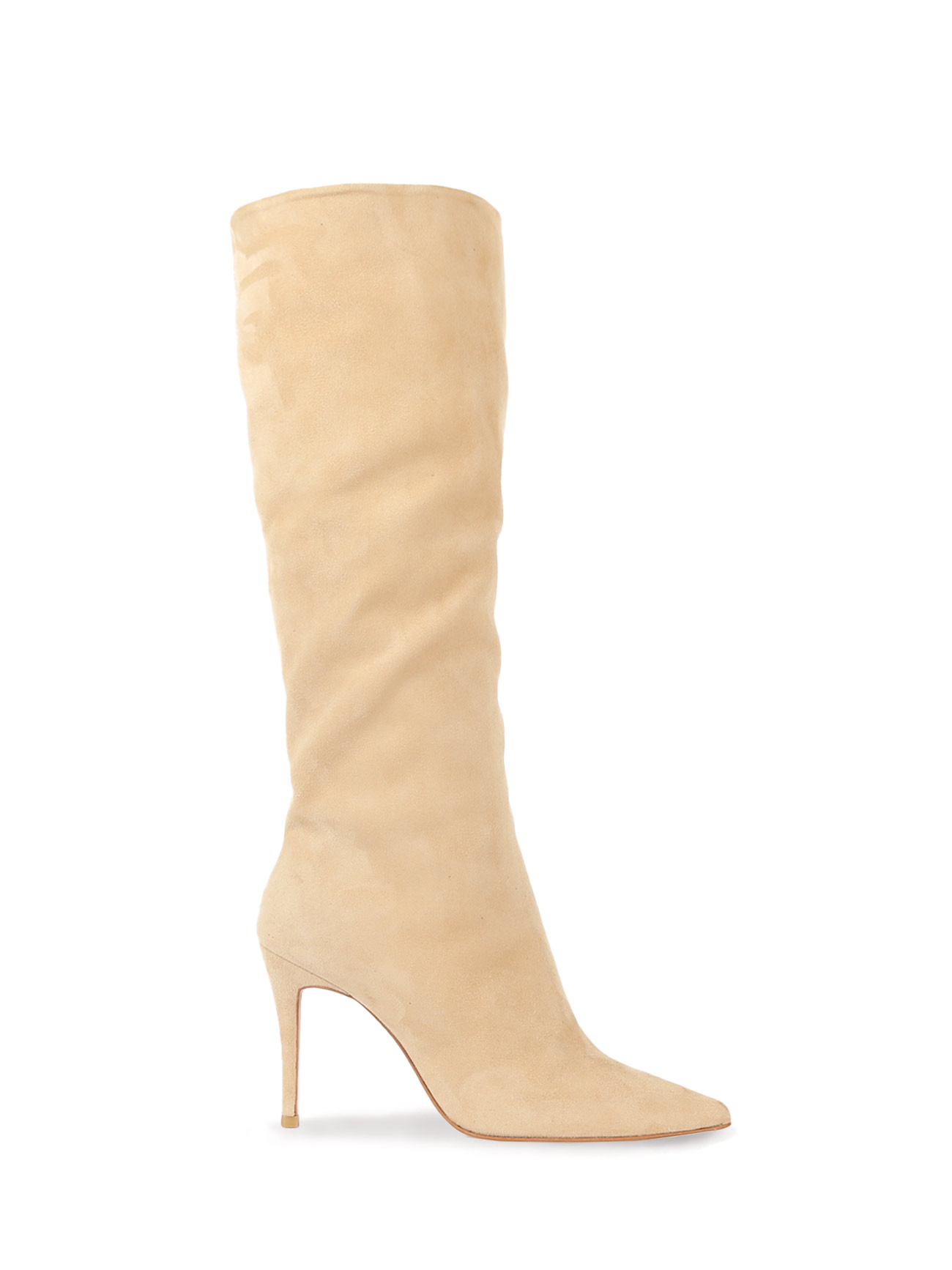 SUZAN LEATHER KNEE BOOTS (7cm, 9cm) - LEMON BEIGE