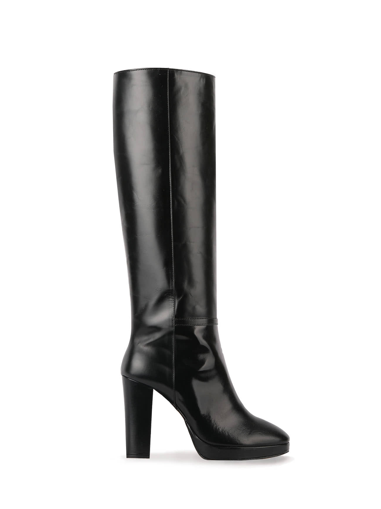 70' KATE LEATHER KNEE BOOTS (10cm) - BLACK