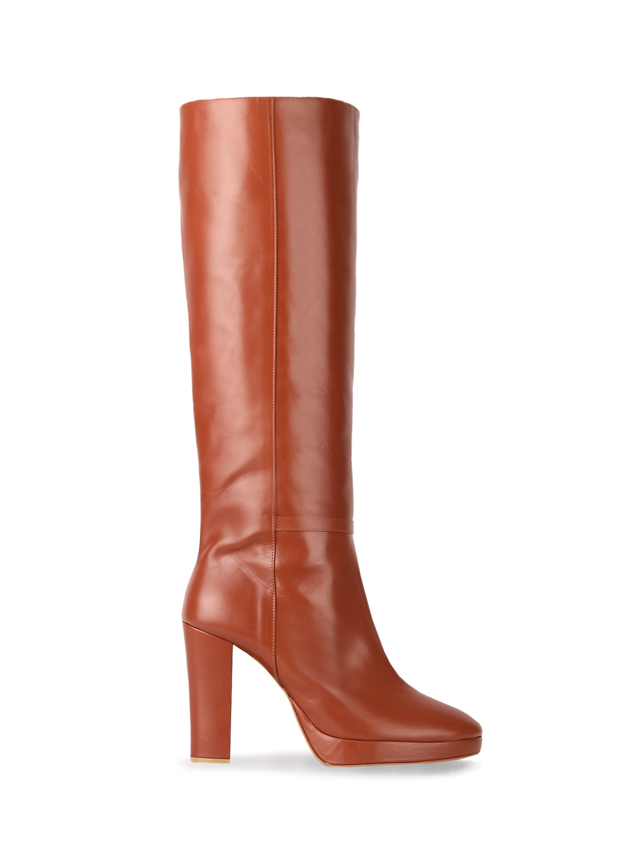 70' KATE LEATHER KNEE BOOTS (10cm) - AMBER BROWN
