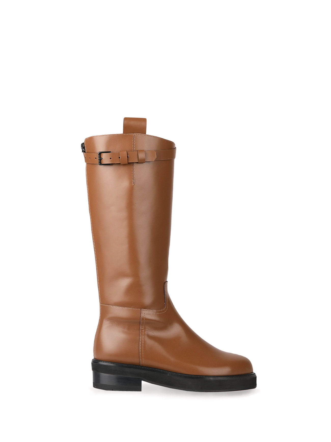 JOY BUCKLE-STRAP HALF BOOTS - MILK BROWN (4cm)