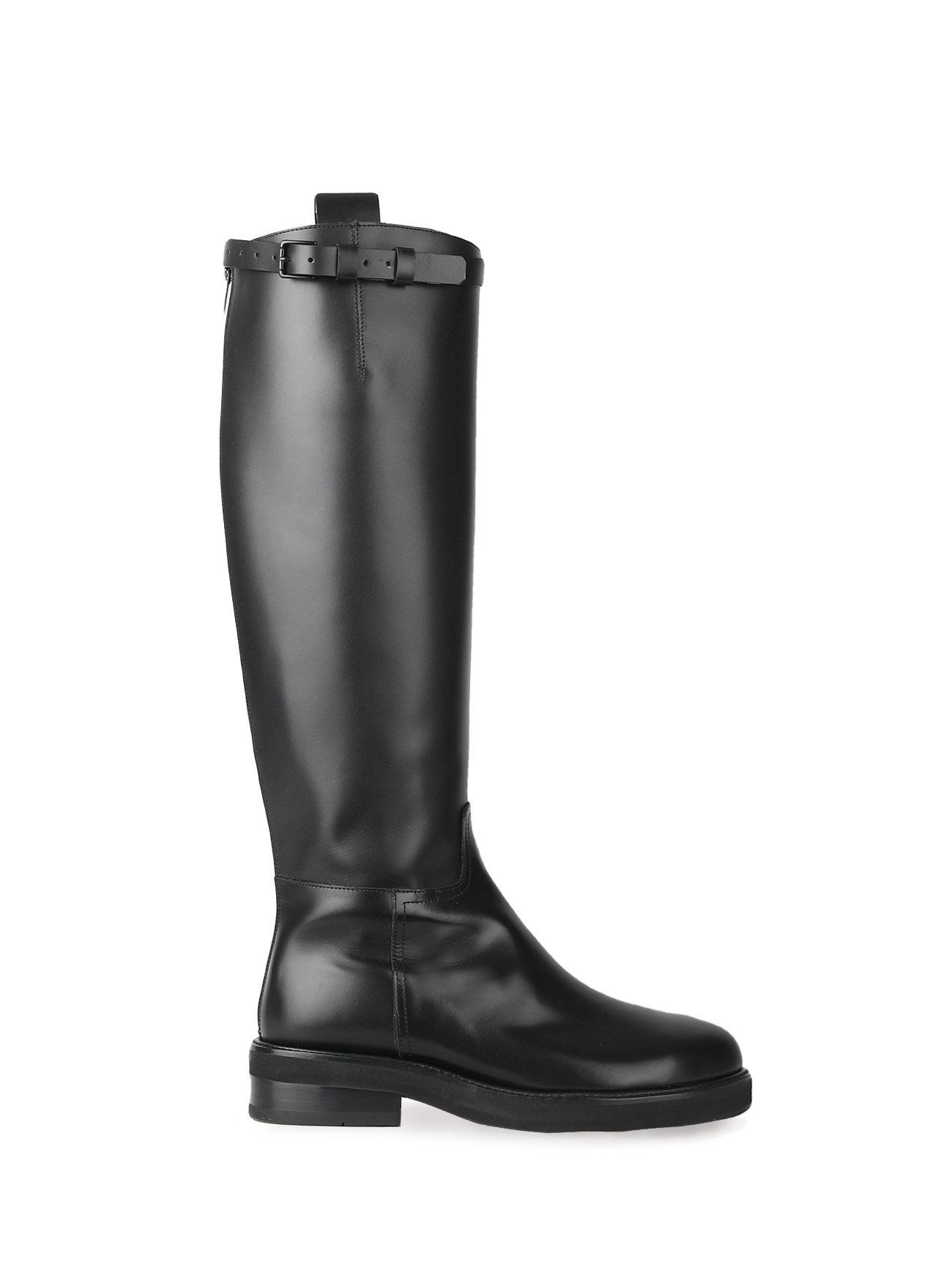 JOY BUCKLE-STRAP LEATHER BOOTS - BLACK (4cm)