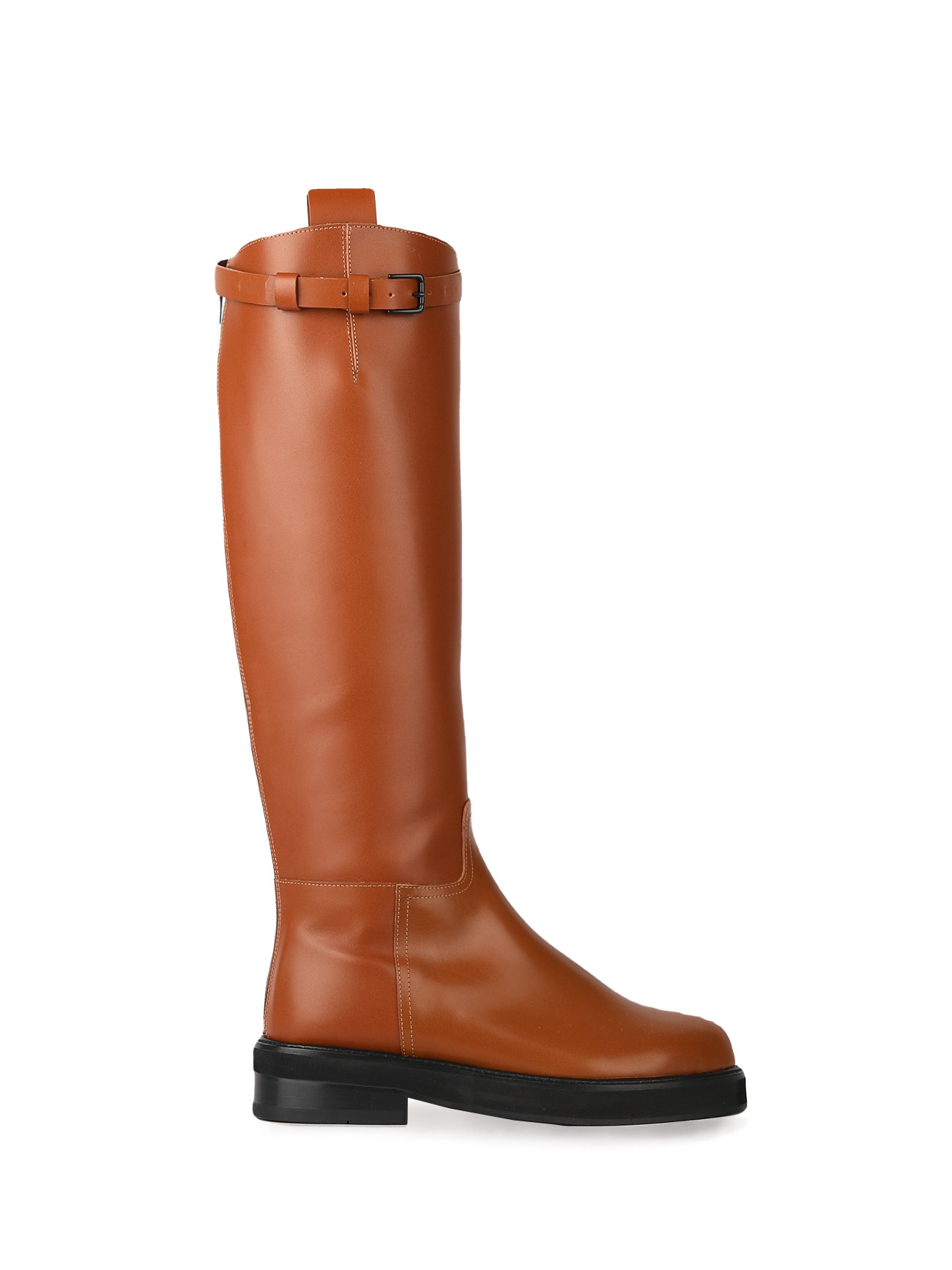 JOY BUCKLE-STRAP LEATHER BOOTS - CAMEL (4cm)