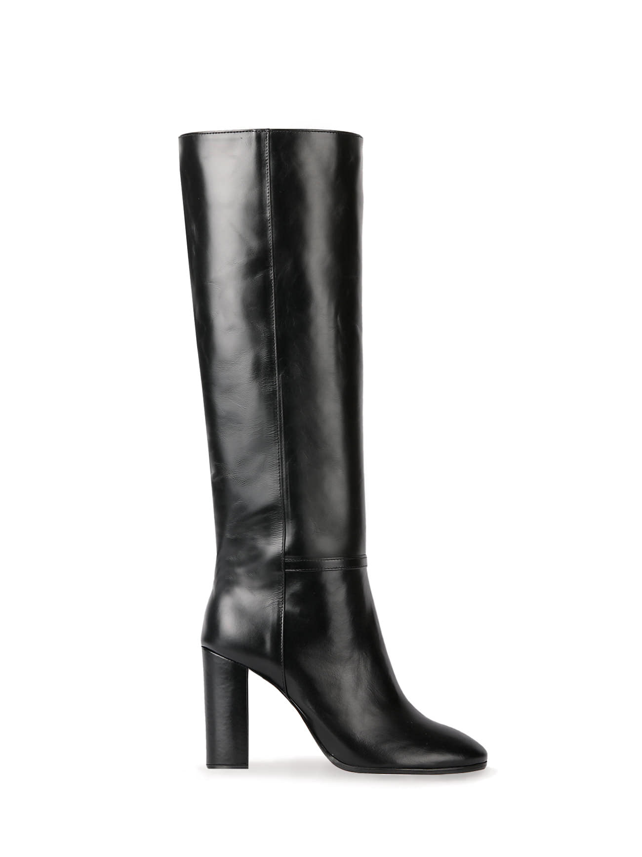 KATE LEATHER KNEE BOOTS (7cm, 9cm) - BLACK
