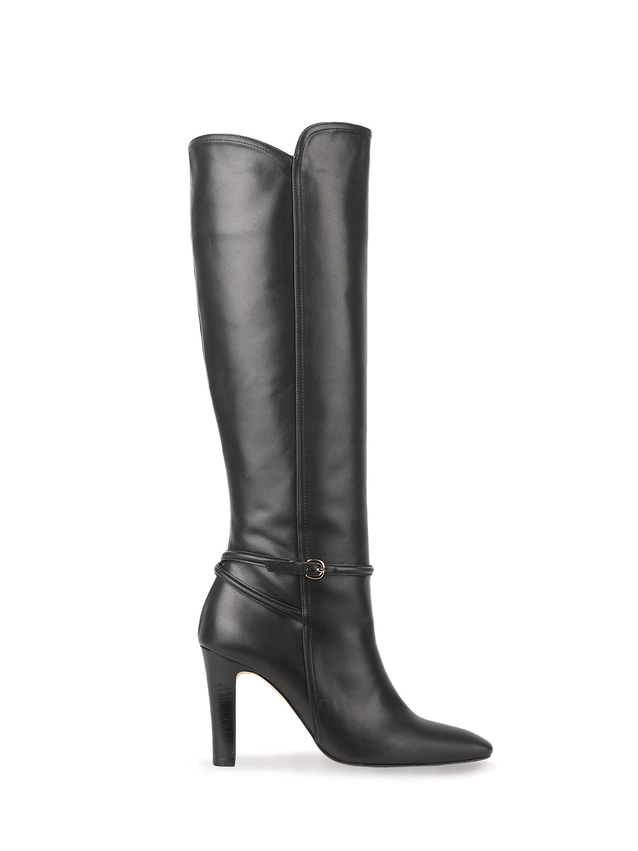 KELLY KNEE-HIGH LEATHER BOOTS (7cm, 9cm) - BLACK