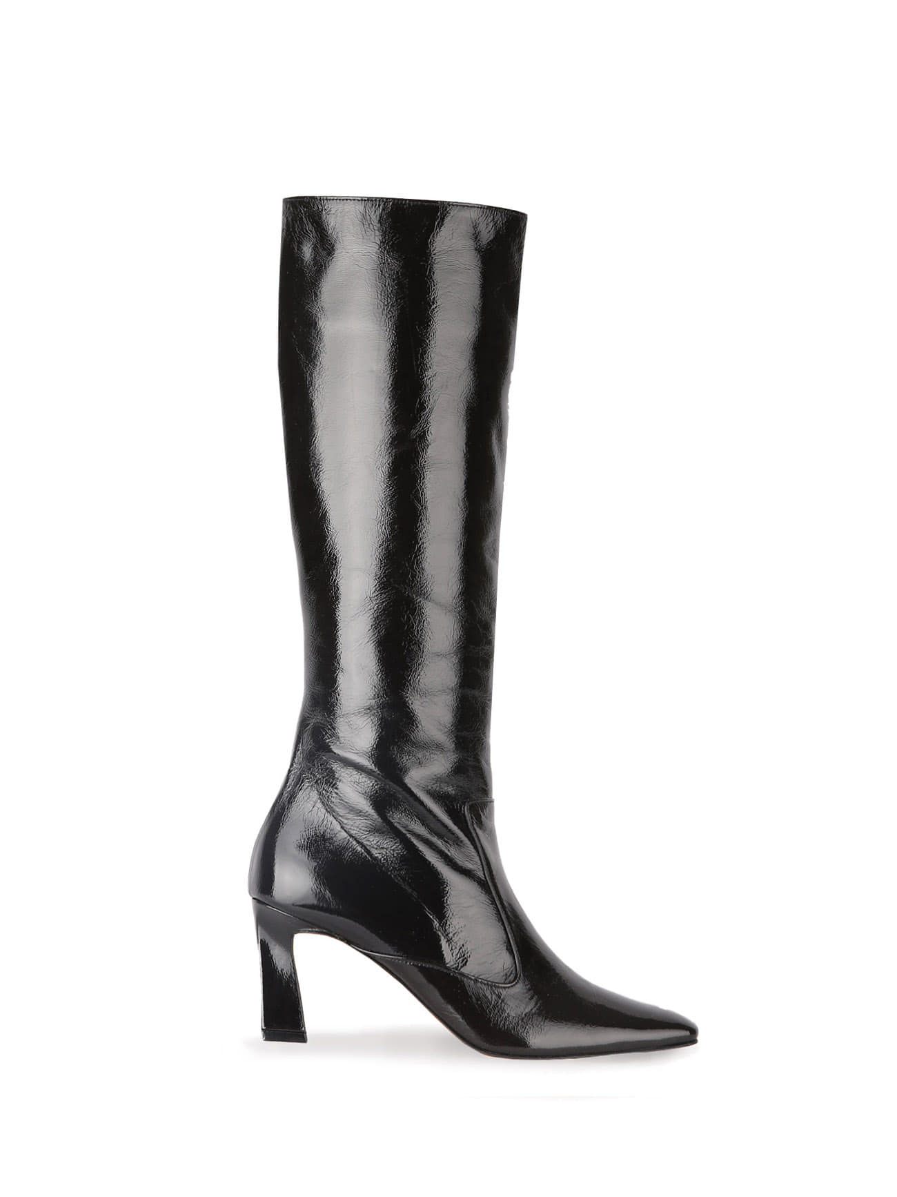 COLLIN SQUARE-TOE LEATHER BOOTS (7cm) - BLACK