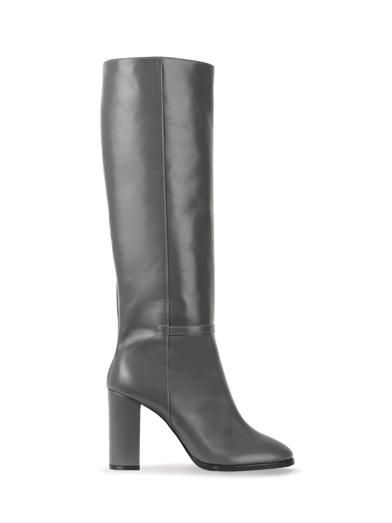 KATE LEATHER KNEE BOOTS (7cm, 9cm) - DARK GRAY