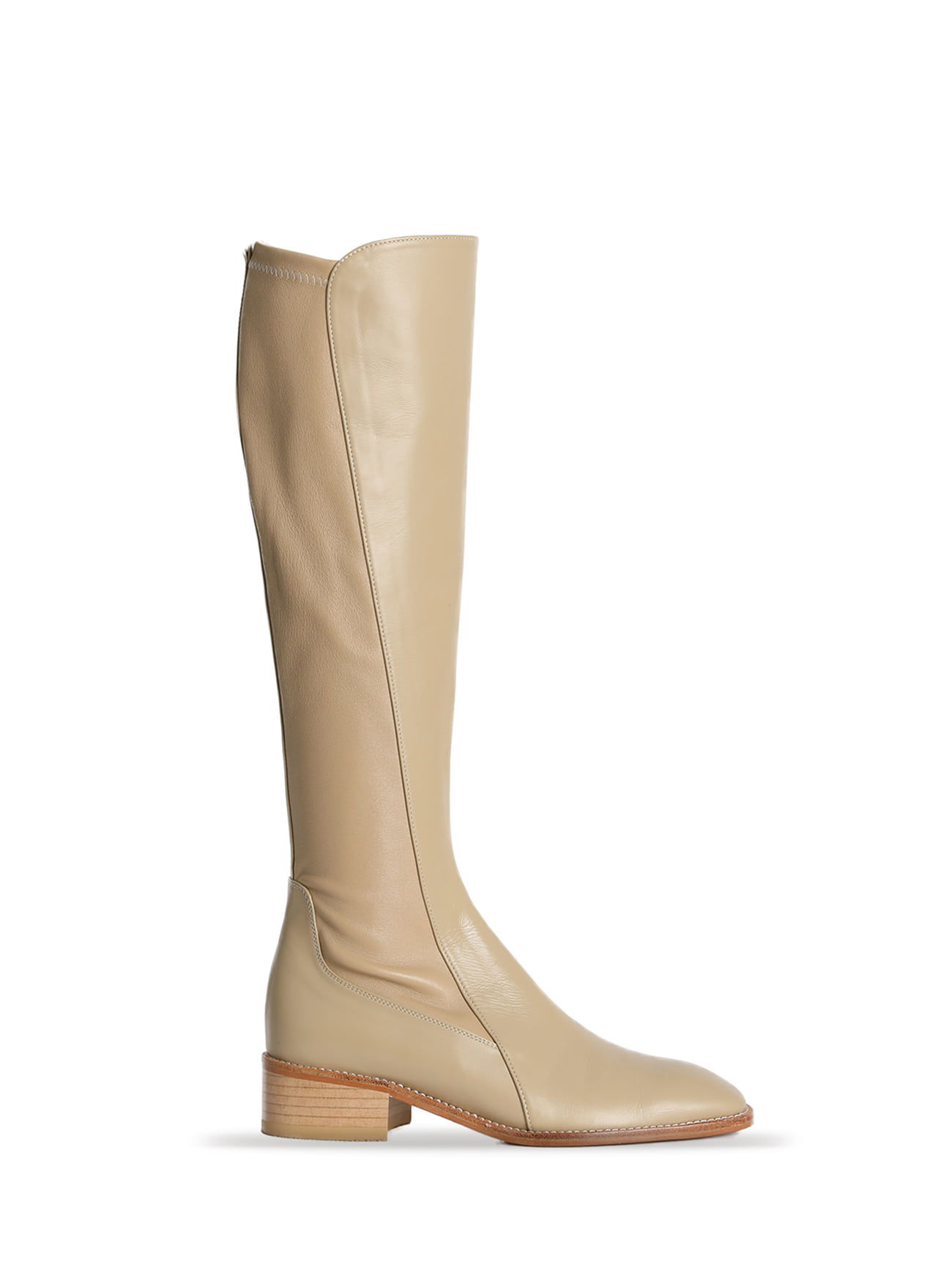 JACKSON LEATHER KNEE-HIGH BOOTS - BEIGE (4cm)