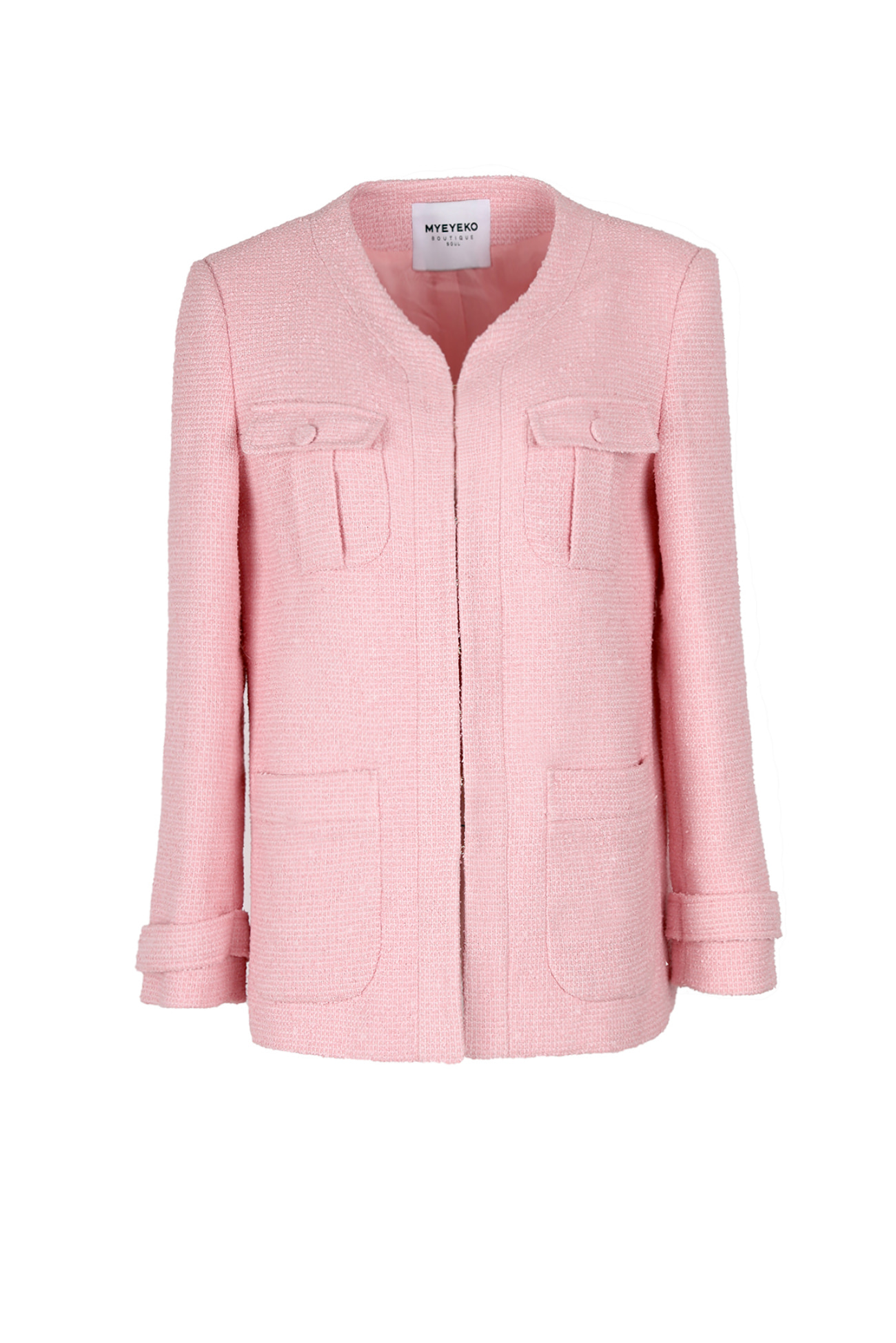 HIGH QUALITY LINE - PINK Tweed  Boucle Jacket (made fabric)